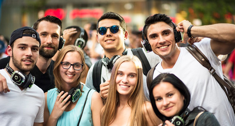 Outdoor silent disco party with your friends