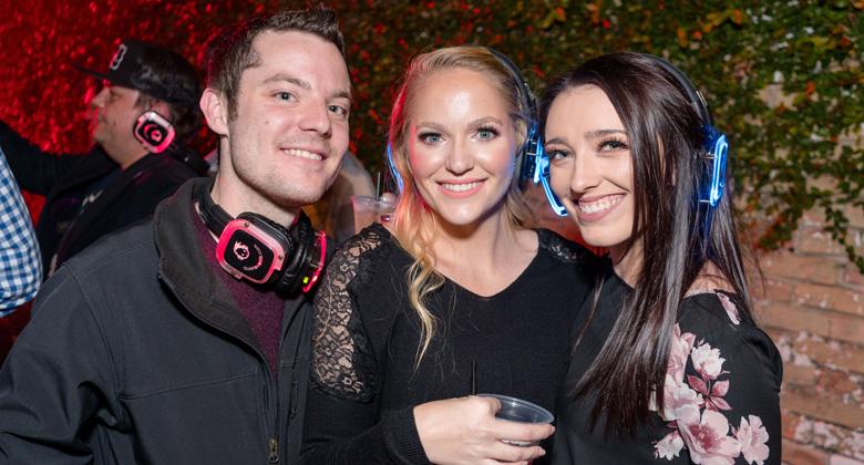 Austin party with headphones
