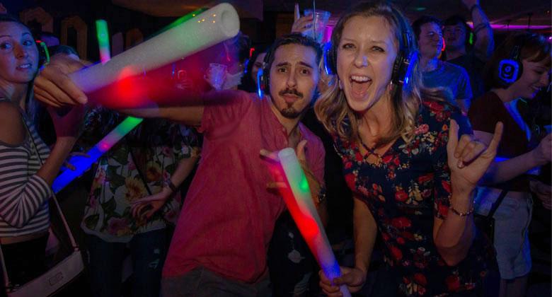 Belmont silent disco party with headphones