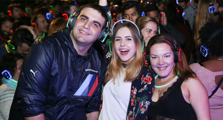 Bohemian silent disco party with headphone