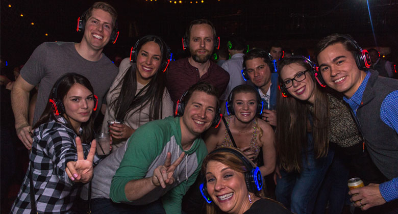 Texas Gang silent disco party with headphones