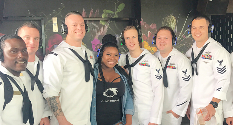 Fleet week with headphones in Silent disco party