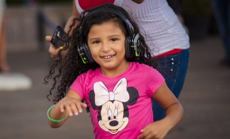 Little lady with headphones