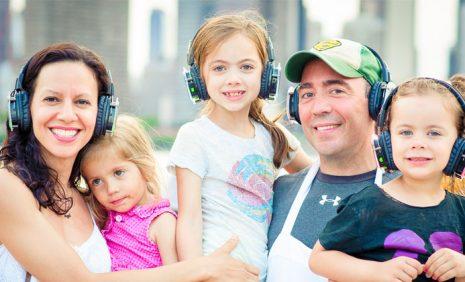 Family sunday with headphones