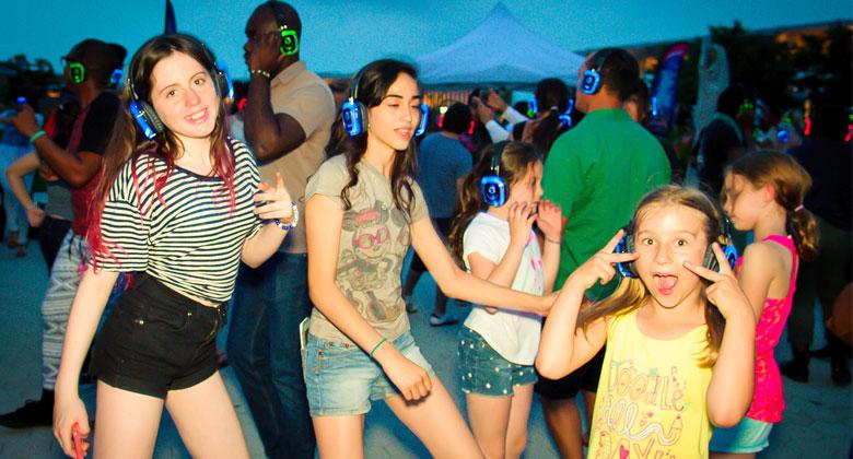 Kids enjoying the silent disco party