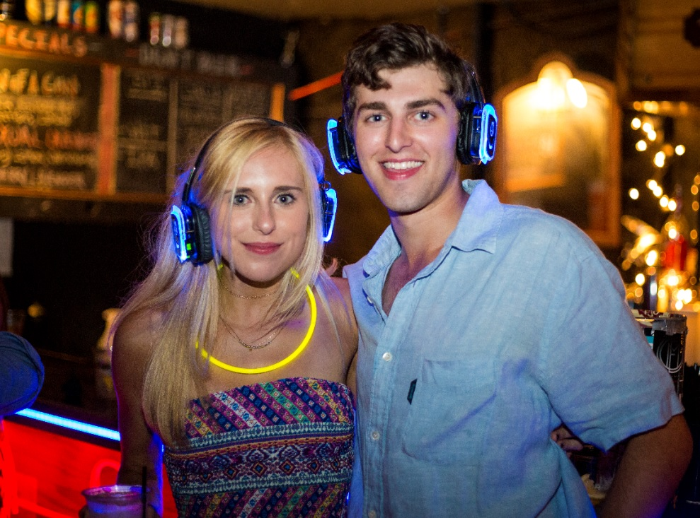 Dallas silent disco party couple with headphones
