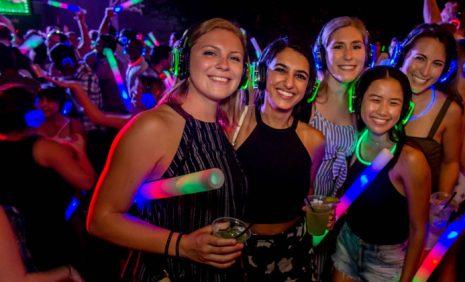 Neon party with headphones