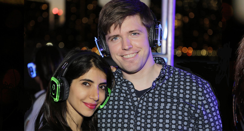 Couple enjoying the Silent Disco Party