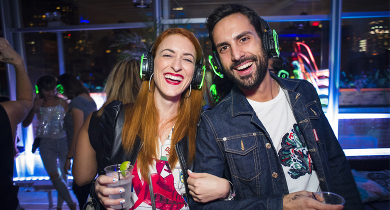 Couple enjoying the Silent Disco Party