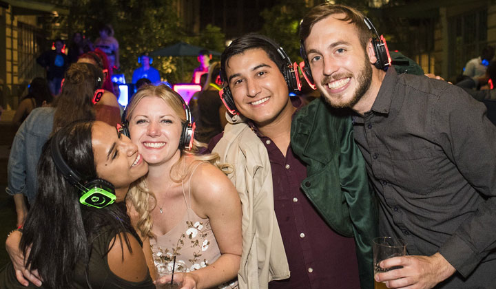 Enjoying the outdoor party with Headphones