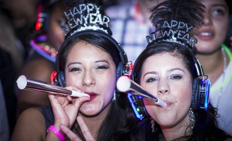 Two girls celebrating New year