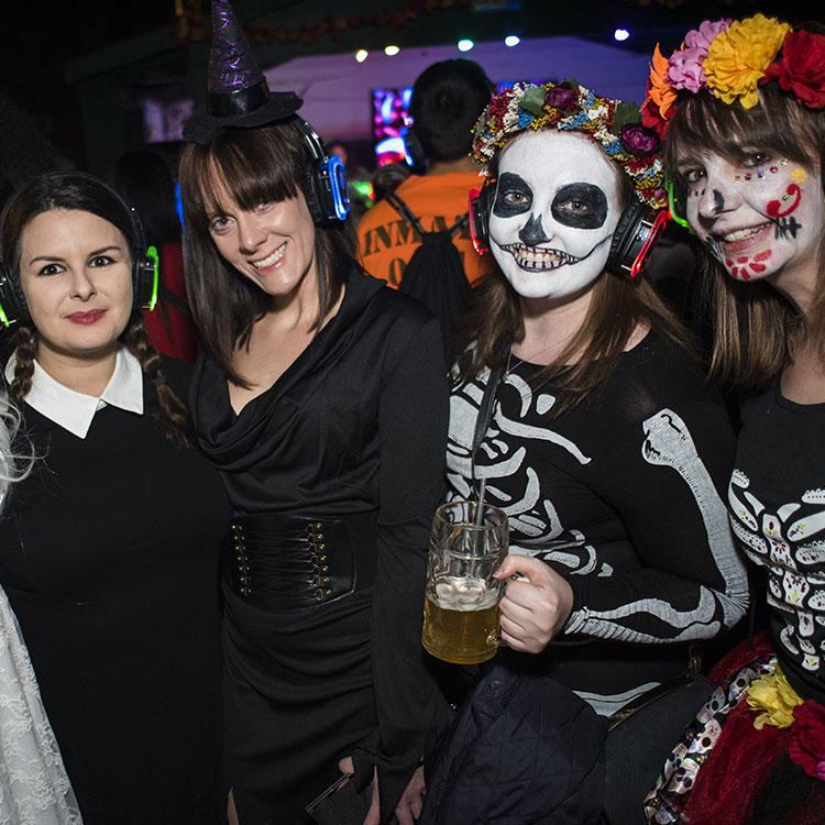 Group of woman in halloween costumes